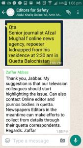 Pakistani Editors use Whatsapp group to keep journalists safe